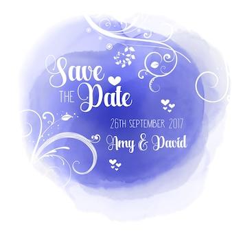 Invitación de boda con acuarelas azules