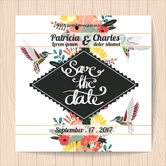 Invitación de boda con colibrís