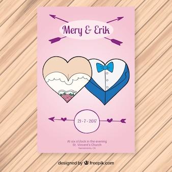 Invitación de boda con corazones decorativos