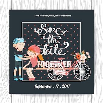 Invitación de boda con diseño de ciclismo