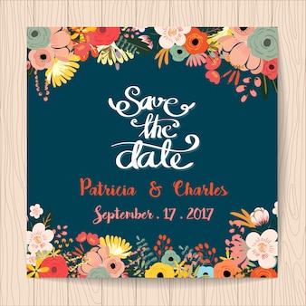 Invitación de boda con diseño de flores tropicales