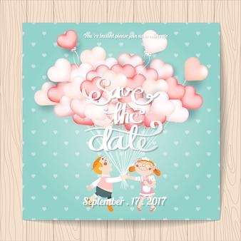 Invitación de boda con diseño de globos de corazón