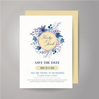 Invitación de boda con diseño floral y lazo