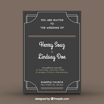 Invitación de boda con diseño oscuro