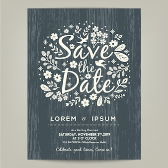 Invitación de boda con elementos dibujados a mano