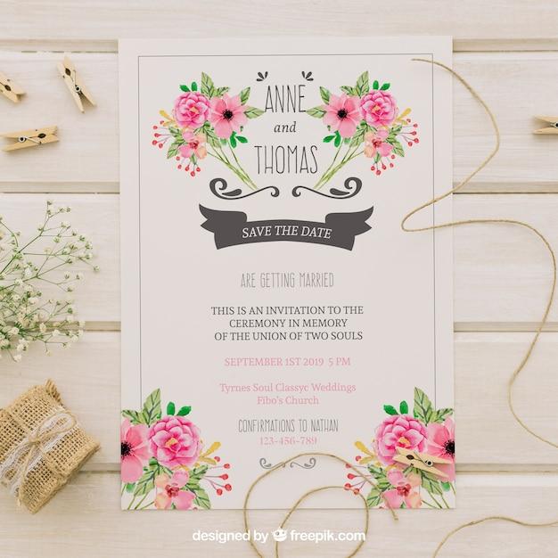 invitacin de boda con flores de acuarela