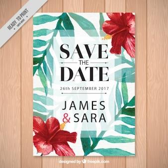 Invitación de boda con flores tropicales