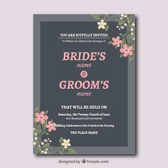 Invitación de boda con flores