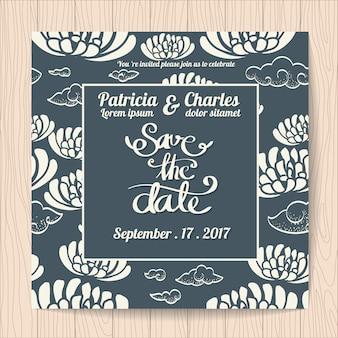 Invitación de boda con fondo abstracto