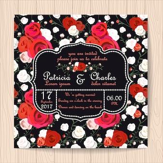 Invitación de boda con fondo de patrón de rosas