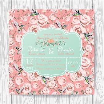 Invitación de boda con fondo de rosas y colibrís