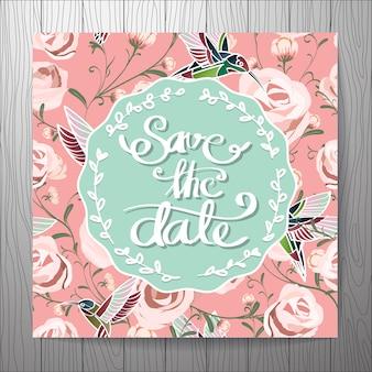 Invitación de boda con fondo de rosas
