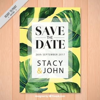 Invitación de boda con hojas de palmera