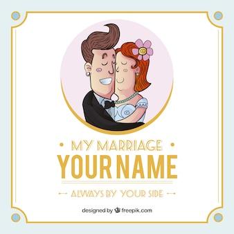 Invitación de boda con la novia y el novio