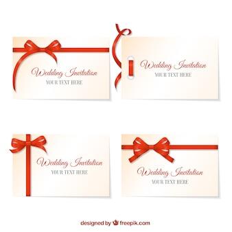 Invitación de boda con lazo rojo