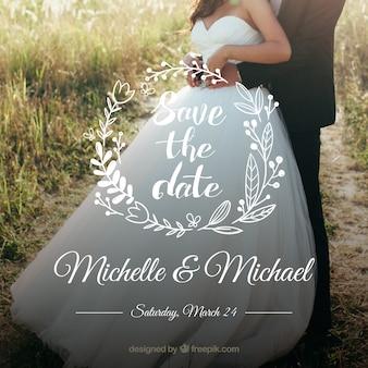 Invitación de boda con letras hechas a mano