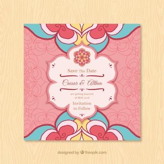 Invitación de boda con mandala floral