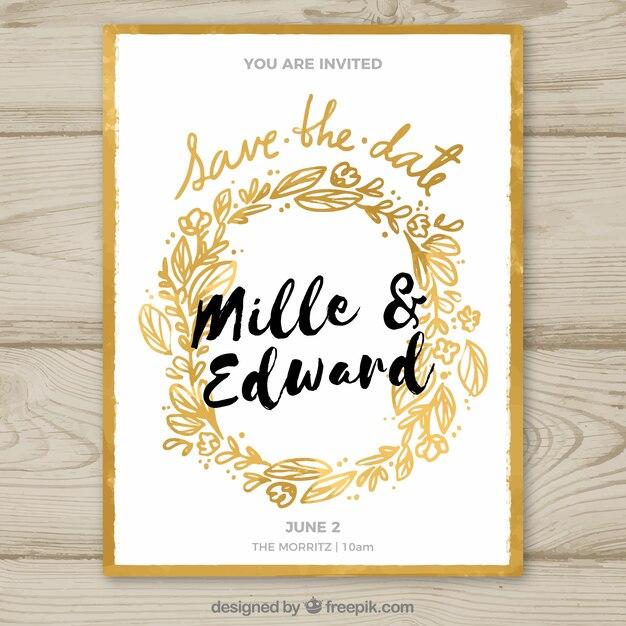 invitacin de boda con marco floral dorado