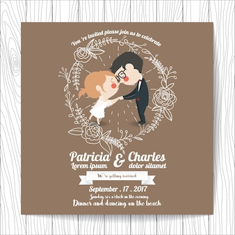 Invitación de boda con personajes de marido y mujer