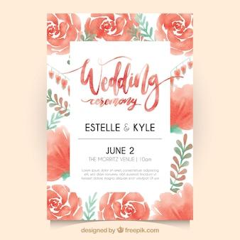 Invitación de boda con rosas de acuarela