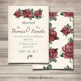 Invitación de boda con rosas pintadas a mano
