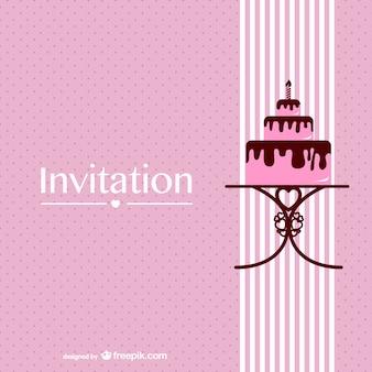 Invitación de boda con tarta