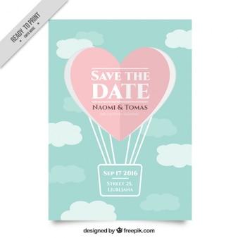Invitación de boda con un corazón en forma de globo de aire caliente