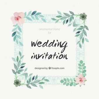 Invitación de boda de acuarela con un marco floral