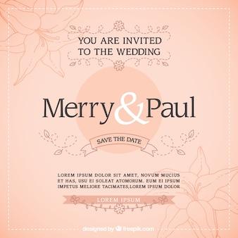 Invitación de boda de bocetos florales
