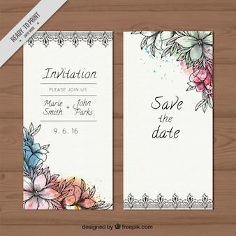 Invitación de boda de bosquejos flores con salpicaduras de acuarela