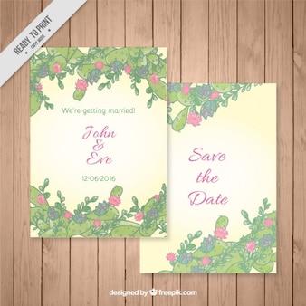 Invitación de boda de cactus y hojas dibujadas a mano