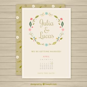 Invitación de boda de la corona de flores con un calendario