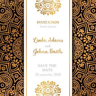 Invitación de boda de lujo elegante en estilo de mandala