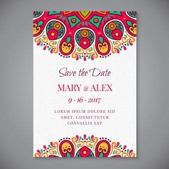 Invitación de boda de mandala