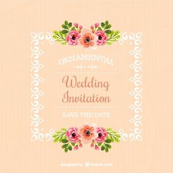 Invitación de boda de marco con detalles florales