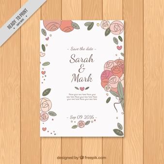 Invitación de boda de rosas bonitas dibujadas a mano