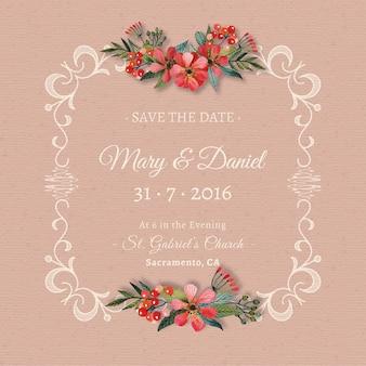 Invitación de boda decorada con flores sobre ornamentos