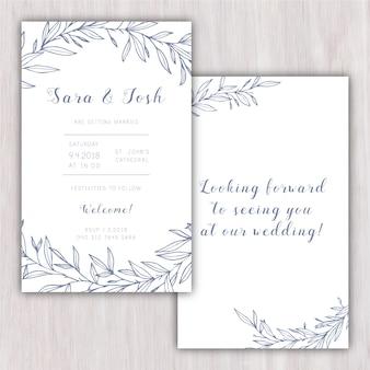 Invitación de boda elegante con elementos dibujados a mano