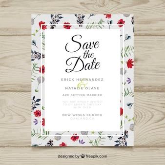Invitación de boda en acuarela con flores coloridas