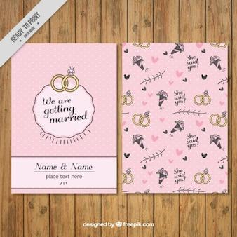 Invitación de boda en estilo vintage con dibujos