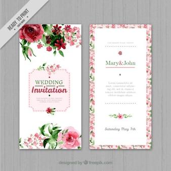 Invitación de boda floral de acuarela
