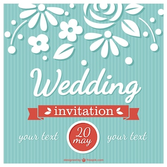 Invitación de boda floral de estilo retro
