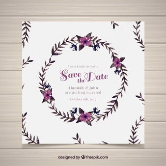 Invitación de boda floral en acuarela