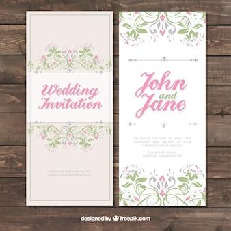 Invitación de boda floral estilosa