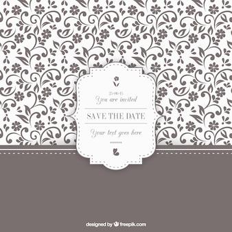 Invitación de boda floral ornamental