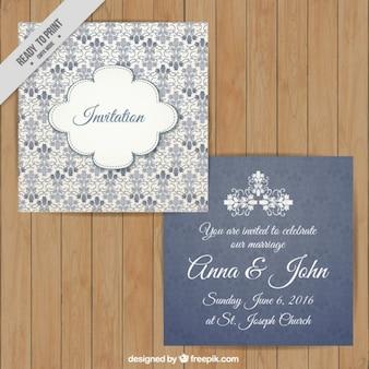 Invitación de boda ornamental con detalle floral