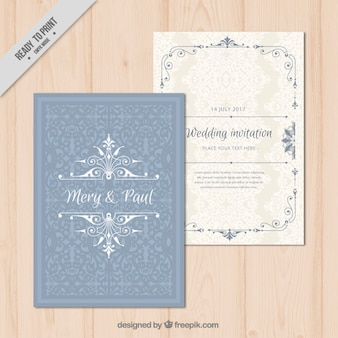 Invitación de boda ornamental elegante