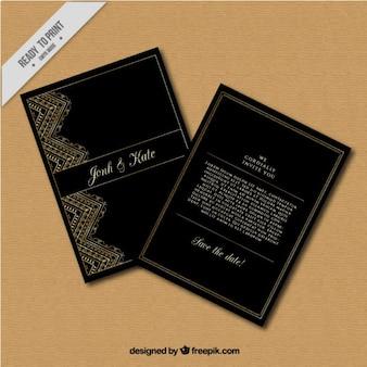 Invitación de boda oscura de detalles dorados