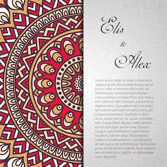 Invitación de boda retro de mandala con espacio para texto