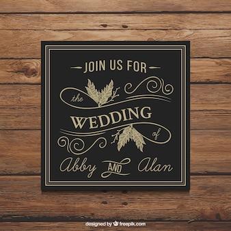 Invitación de boda retro negra